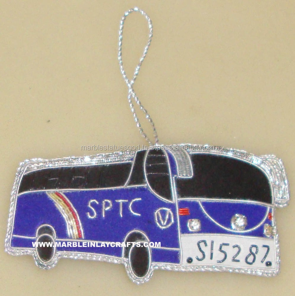 Bus Shape Hand Embroidery Ornaments Decoration Hanging