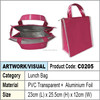 Zipper Lunch Cooler Bag (pink)