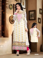 Designer party wear heavy pure viscose & embroidery white & pink straight long cut salwar kameez with fancy dupatta