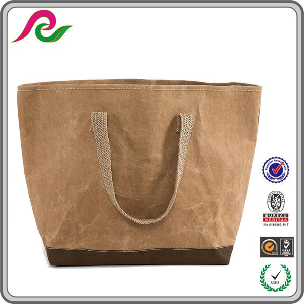 tear resistant washable kraft giulia bag, recycled washable paper tote