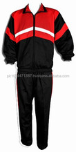 Custom plain classic full zipper round collar winter/autumn mens cotton tracksuits / black and red tracksuit