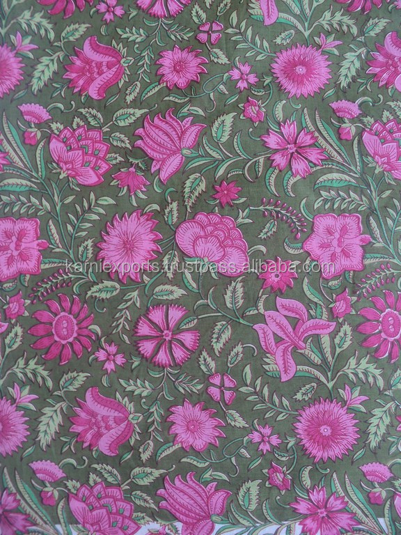 Pink color flower design printed latest screen printed viscose fabric / India best quality fabric prints