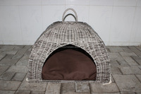 poly wicker Pet basket/ Dog bed/ Cat bed with cushion inside, 2015 new product - CH2594