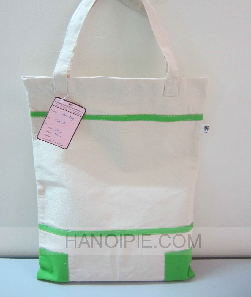 Green line on natural cotton handle bag for fashion 2015