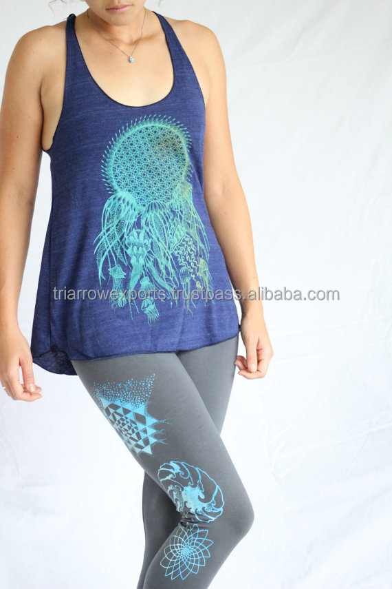 Chakras Yoga Leggings - Ice blue two tone print on American Apparel quality Sacred Geometry Legging