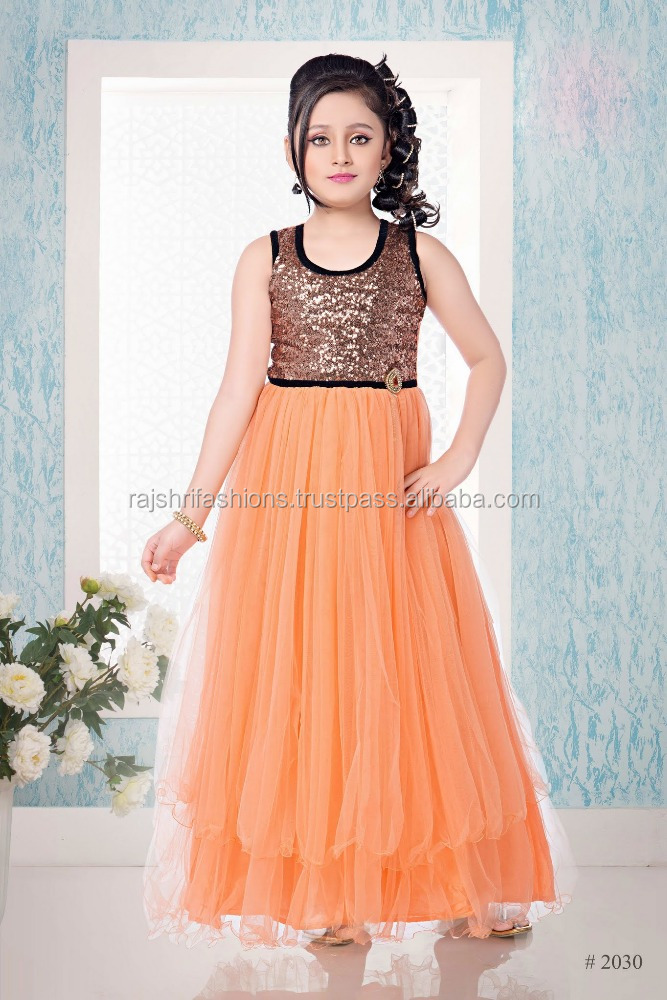 Salmon color with shiny black design at neck and border at bottom long gown Sizzling Girls Ready Made