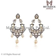 Pave Diamond Chandelier Jhumka Rose Cut Polki Diamond Drop Earring Jewelry