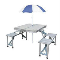 Foldable Metal Picnic Table With Umbrella
