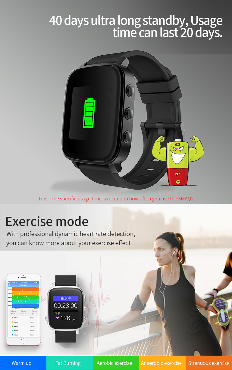 SMA Q2 smart watch 30 days standby time IP67 waterproof swimming smart watch Always-on Memory LCD Screen smart watch