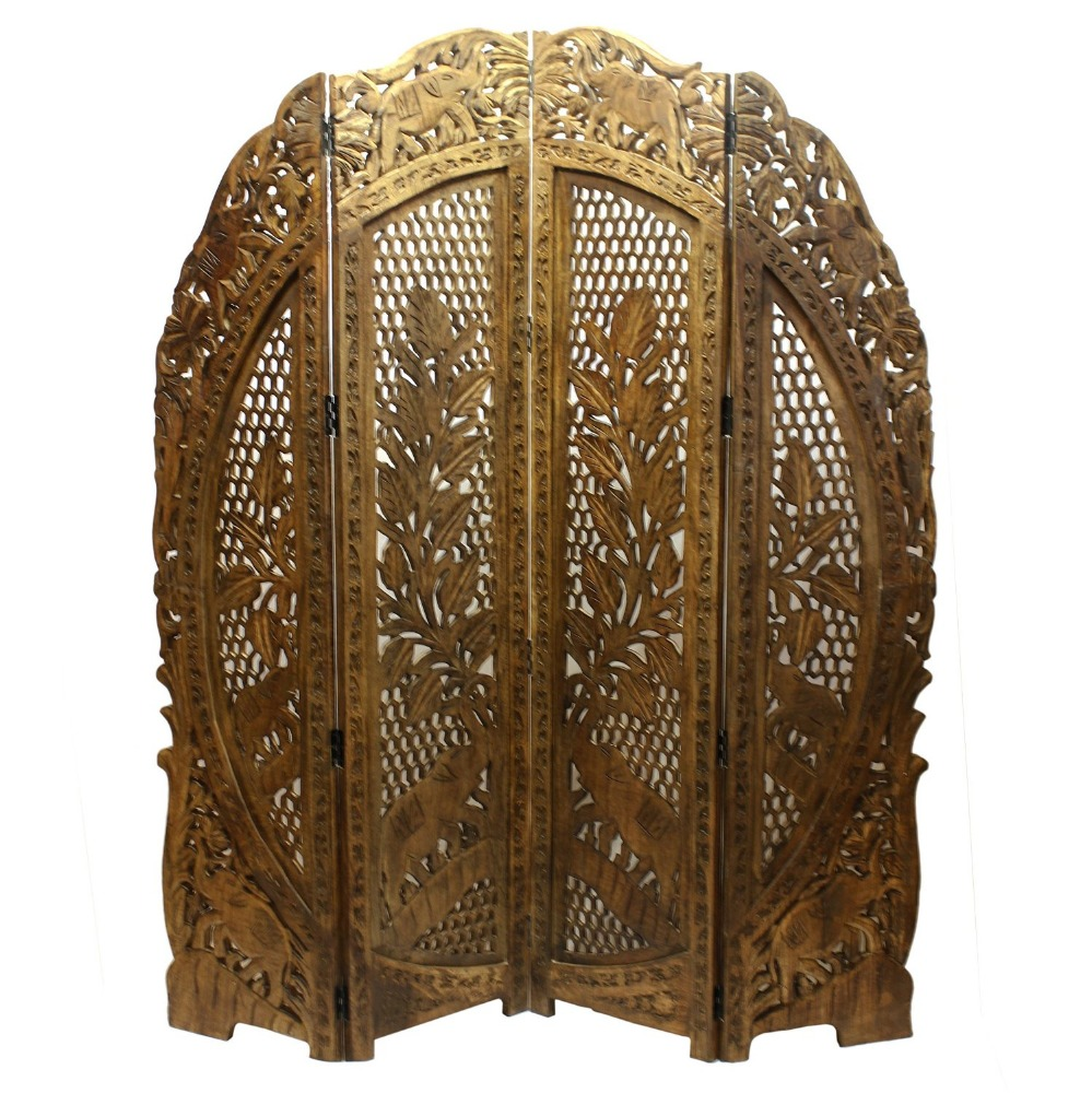 Store Indya Wooden Screen with 4 Intricately Carved Panels