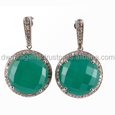 Green Onyx and Brown CZ Studded 925 Sterling Silver Earrings Wholesale from India