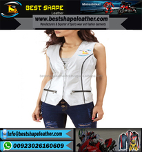 Best Quality Breathable Leather Customized Vest Manufacture Women Leather Vest