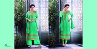 Indian Designer Salwar Work With Net Suit Neck Border Wear Corner Borders Salwar Kameez