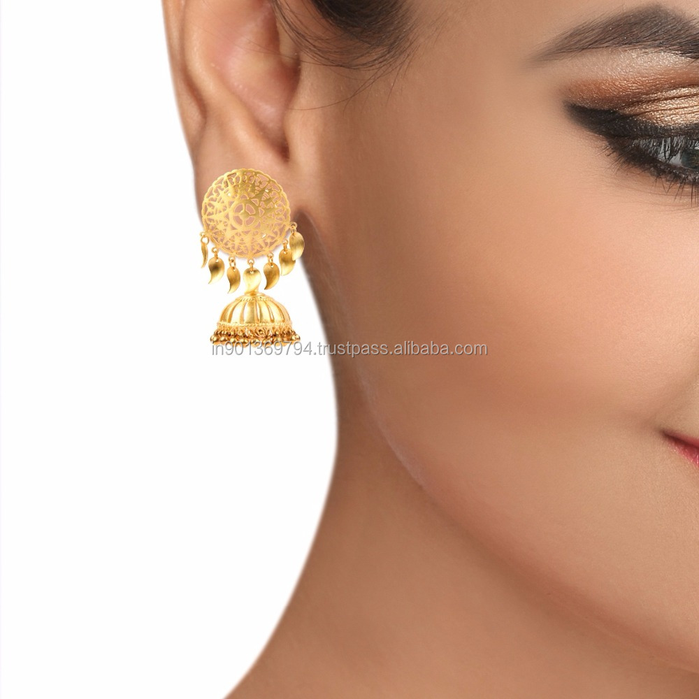 Big Mughal Style Golden Beads Gold Plated Traditional Punjabi Style Peepal Pattis Jhumka Earrings