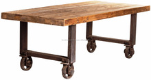 Industrial Dining Table Reclaimed Wooden Top Metal Legs With Wheels