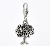 Antique Silver Tree Clip On Charms. Fits Thomas Sabo 35x17mm, sold per packet of 20
