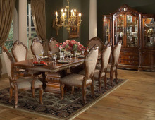 Wooden traditional indian dining table , Dining Room Furniture , carved brown antique wooden carved round dining table chairs