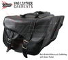 Motorcycle saddle bags - Motorcycle Touring Pack - Sissy Bar Travel Leather Bag Set- PVC Waterproof Gun Pocket Saddlebags