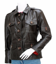 men Black Leather jacket military style , New Sheep Leather Women Brown Jacket.