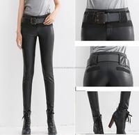 pu leather pants womens fashion pencil leather trousers for woman ,out wear leather trousers for Women black