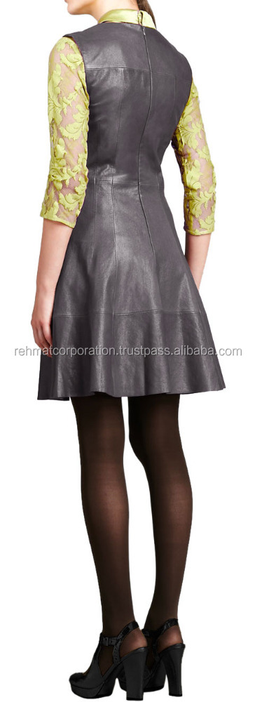 Little Leather Dress With Pleated A-Line Skirt