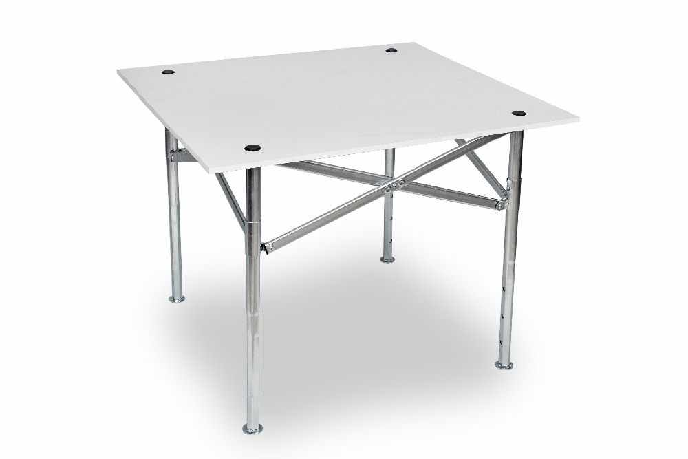 Outdoor 90x80cm Steel Frame Wood Top Folding Table