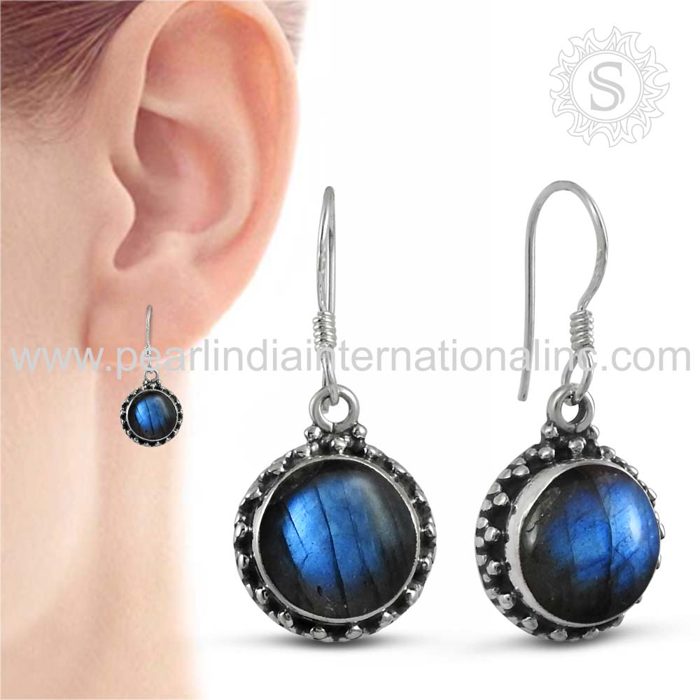 Shining Blue Labradorite Gemstone 925 Silver Earring Jewelry Wholesale Sterling Silver Jewelry Manufacturer India