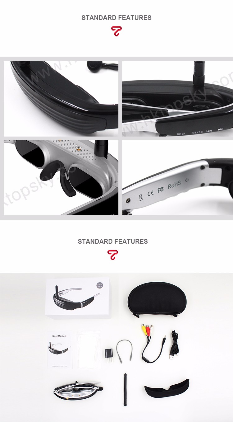 Cheap 5.8G wireless analog signal FPV Video Glasses FPV goggles FPV gear for drone race RC