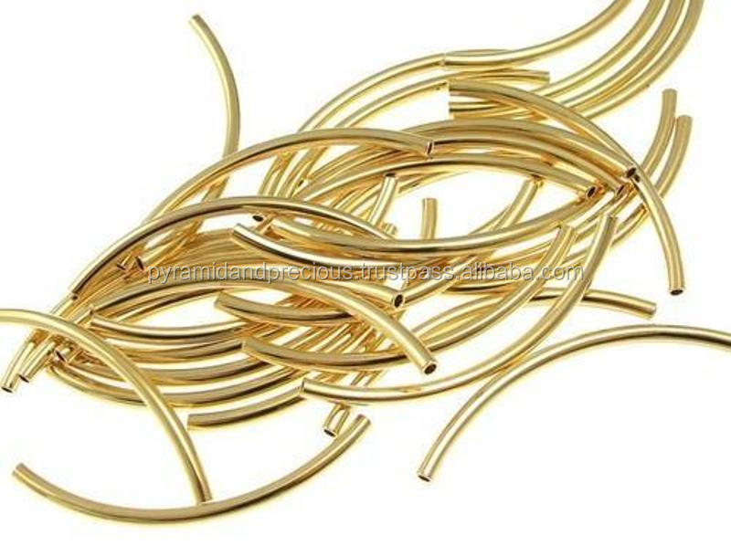Gold Plated Curved Tube Beads