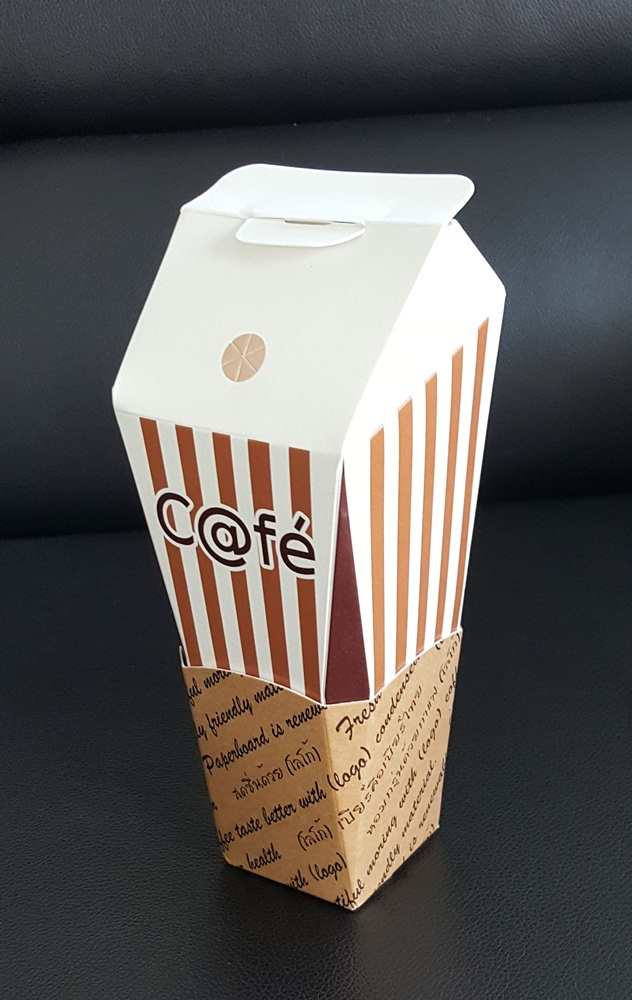 22-ounce paper cups with paper casing.,No. A,Tall cups paper.vertical white stripes and brown.480 piece per box.PE coated paper.