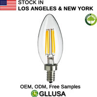LED FILAMENT VINTAGE E12 CANDELABRA 4W OR 40W EQUIVALENT DIMMABLE 2700K TORPEDO CLEAR GLASS