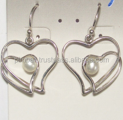 Double Heart shape earrings with pearl accent