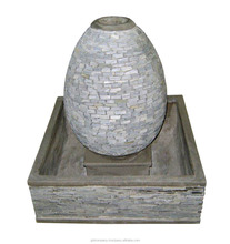 [wholesale] Pebble & Slate water feature fountain - Stacked stone walls - Sandstone garden pots