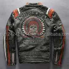 AVIREXFLY Men's Punk Embroidery skulls leather motorcycle jacket Vintage black
