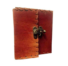 Colorsncraft Genuine Leather Red Antique Look Buckle To Close Notebook Of 100 Pages