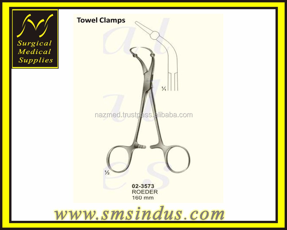 Roeder Towel Clamps incurving needle-like blades
