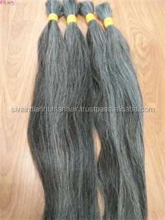 Wholesale Single drawn hair high quality best price natural grey color Indian temple human hair