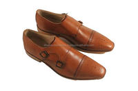 Best Model Double Strap Formal Antic Tan Monk With Leather Sole