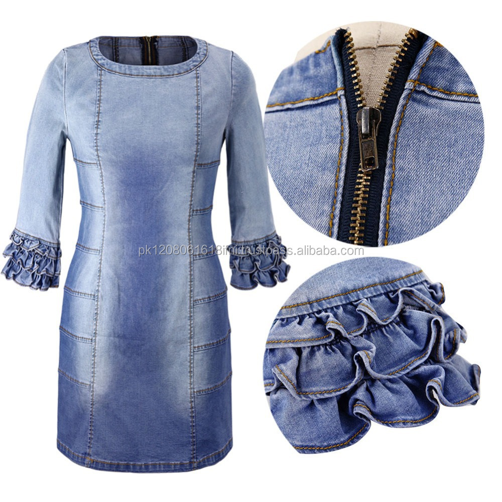 back zip zipper women stylish design jeans denim dress with new design on sleeves