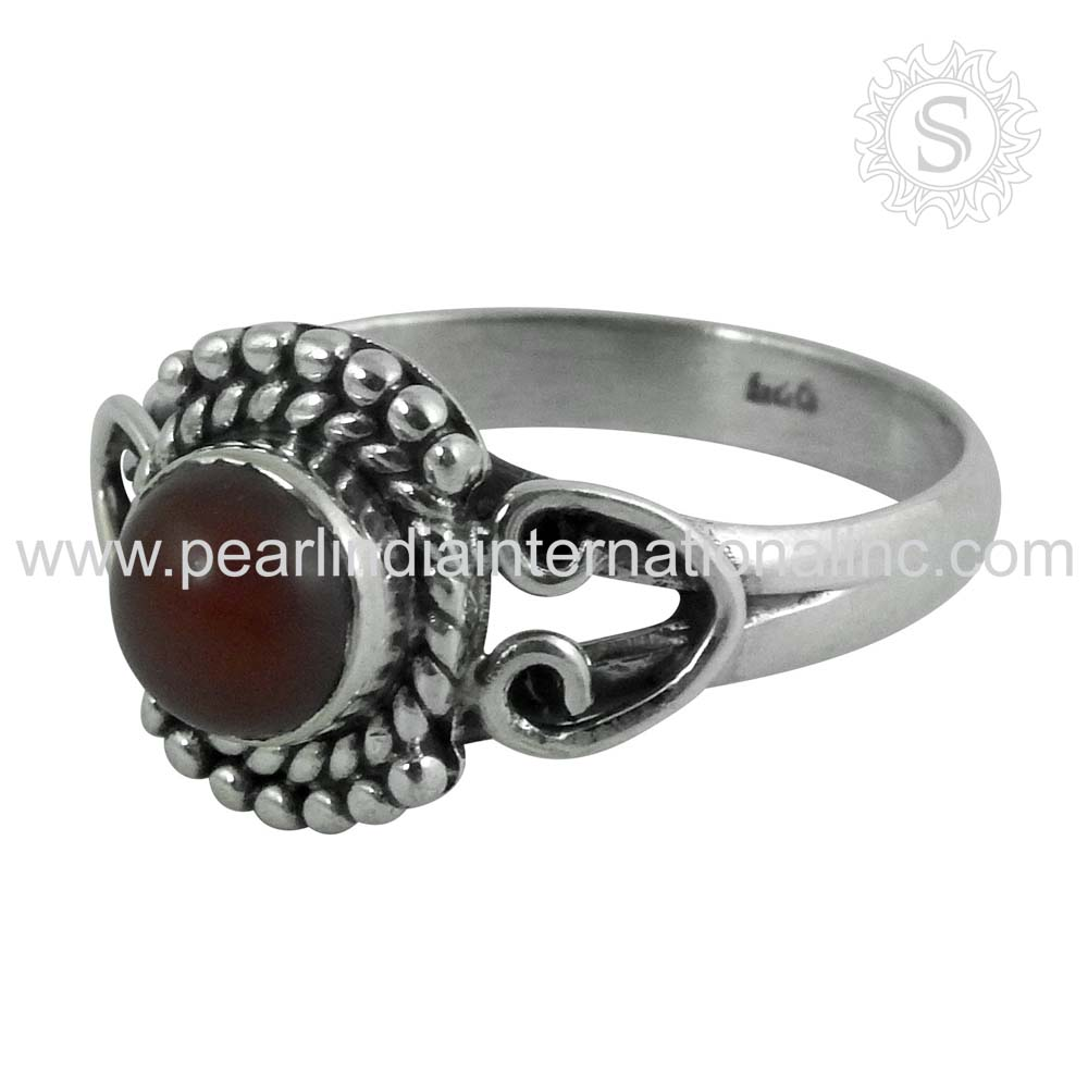 India Fashion 925 Sterling Silver Red Carnelian Jewelry Wholesale Ring