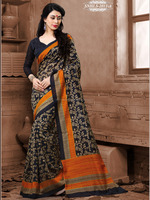Black Colour Printed Cotton Silk Sarees With Unstitched Blouse Piece