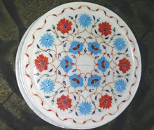 Round Stone Grapes Inlay Design White Marble Stone Plate