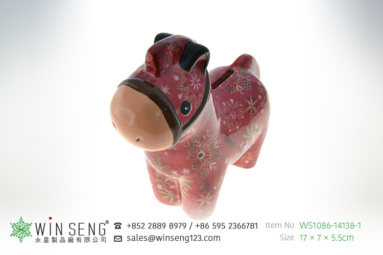 fujian cheap coin box lovely design flower patterns horse shaped ceramic animal wholesale piggy bank