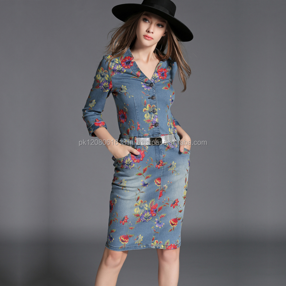 printed embroidered jeans long dress for casual fashion wear with belt
