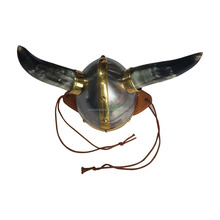 hand-made Viking helmet with Natural Horn