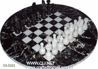 Black Zebra Marble Round Chess Sets for Wholesale