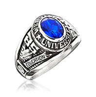 Fashion jewelry custom design silver custom college class ring