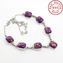 Purple Copper Turquoise Jewelry Necklace 925 Silver Jewelry Indian Silver Necklace Jewelry Supplier