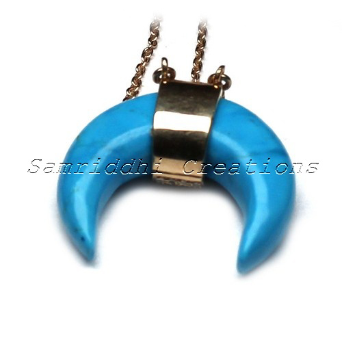 Moon Shape Simulated Turquoise_Diamond Gold Plated 925 Sterling Silver Pendant, Online Diamond Silver Jewelry, Silver Jewelry