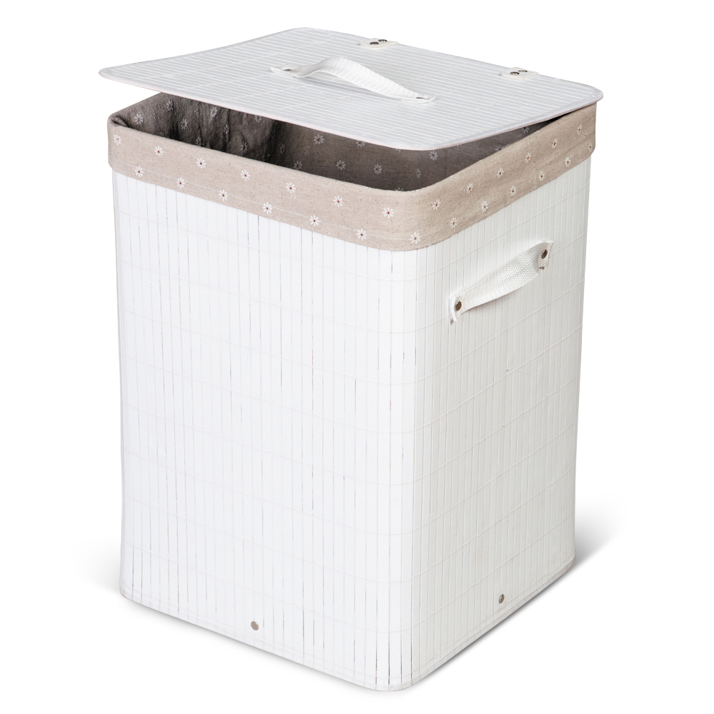 Tatkraft California White Square Bamboo Laundry Basket 60L 35x35x50 cm with Removable Cotton Bag